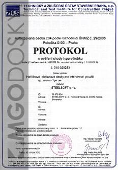MgO Dosky certifikát