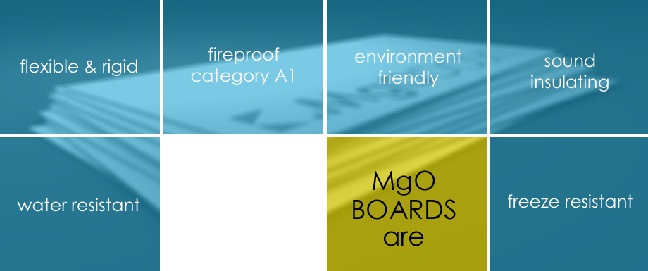 MgO Plates are: Flexible and rigid, fireproof category A1, ecological, soundproof, moisture-resistant, frost-resistant
